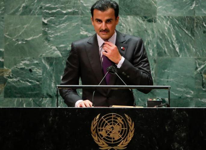Qatar's emir Sheikh Tamim addresses the UN General Assembly